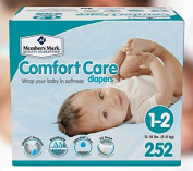 Member's Mark Comfort Care Ultra-Soft SilkSpun Hypoallergenic Disposable Baby Nappies (Choose Your Size) (Size 1-2