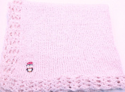 Knitted Crochet Finished Medium Pink Chenille Large Blanket with Penguin Patch