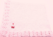 Knitted Crochet Finished Medium Pink Chenille Large Blanket with Santa Patch