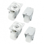 4 Pcs White Single 2.5cm Diameter Rubber Wheel Fixed Type Caster for Hand Trolley