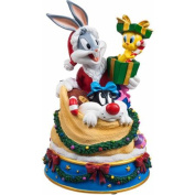 San Francisco Music Box Factory Bugs and Friends in Santa's Toy Bag Figurine Music Box