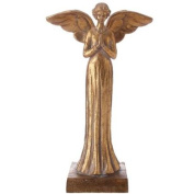 Distressed Gold Finished Decorative Religious Praying Angel Statue 41cm