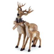 60cm Standing Deer and Fawn with Snow Flocked Burlap Bow Christmas Decoration