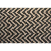 Jute and Cotton Printed 1.5m x 2.1m Area Rug, Grey Chevron