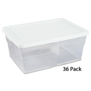 36) Sterilite 16448012 15.1l Stacking Storage Tote Box Containers Closet Tubs