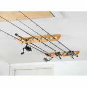 Organised Fishing Wooden Ceiling Horizontal Rod Rack, 9 Capacity