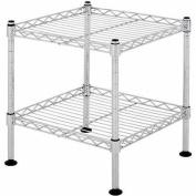 2-Shelf 30cm W x 30cm H x 30cm D Light Duty Wire Shelving Unit in Chrome