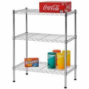3-Shelf 60cm W x 80cm H x 36cm D Steel Wire Commercial Shelving Unit