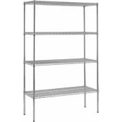 4-Shelf 46cm D x 120cm W x 220cm H Chrome Wire Shelving Unit