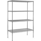Heavy Duty Steel Adjustable Wire Shelving, 360kg Capacity, 120cm W x 220cm H x 60cm D, 4 Shelves, Chrome