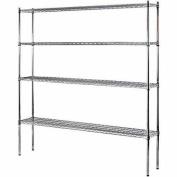 4-Shelf 180cm W x 190cm H x 30cm D Heavy Duty Wire Shelving Unit in Chrome