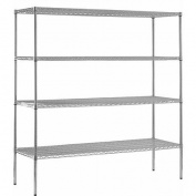 4-Shelf 46cm D x 180cm W x 220cm H Chrome Steel Shelving Unit