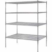 4-Shelf 150cm W x 190cm H x 90cm D Heavy Duty Chrome Wire Shelving Unit
