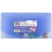 JAM Paper Cheque Size 13-Pocket Expanding File with Button and String Closure, Blue