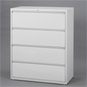 Hirsh Industries 10000 Series 4 Drawer Lateral File Cabinet in Grey