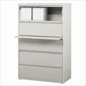 Hirsh Industries 10000 Series 5 Drawer Lateral File Cabinet in Grey