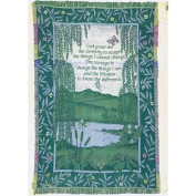 "Multi-Coloured ""Serenity Prayer"" Tropical Floral Border Jacquard Woven Two and A Half Layer Throw Blanket 120cm X 150cm"