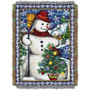 Village Snowman 120cm x 150cm Holiday Woven Tapestry Throw