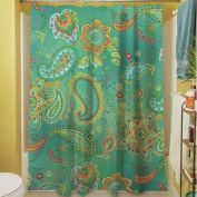 Manual Woodworkers & Weavers Aqua Bloom Paisley Shower Curtain