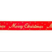 """Red and Gold Glitter """"Merry Christmas"""" Wired Craft Ribbon 6.4cm X 60 Yards"""