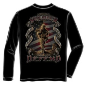 This We'll Defend American Soldier Long Sleeve T-Shirt by Erazor Bits, Black 2XL