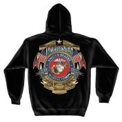 USMC Marines Badge Of Honour Hooded Sweatshirt by Erazor Bits, Black, XL