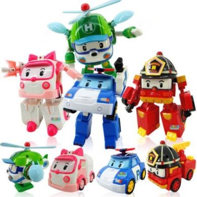 NEW 4Pcs Robocar Poli Transformation Robot Car Toys