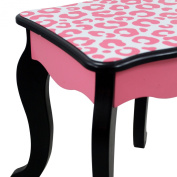 Fashion Prints Childrens Wooden Girls Dressing Table & Stool with Mirror & Drawer Vanity Set