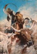 The Roundup : N. C. Wyeth : circa 1904 : [cowboys longhorns cattle]
