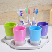 Lopkey Bath Wash Gargle Suit Toothbrush Holder & Wash Cups for Four People Family