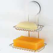 Stainless Steel Double Layer Holder Suction Cup Bathroom Soap Box