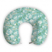 EnjoyIt White Roses U-Shape Neck Pillow with Soft Nap Surface and High Quality Memory Foam Insert