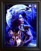 3D Art-wolf Princess- Amazing Life Like 3D Pictures Lenticular Framed Posters From The 3D Art Company Advanced Technology Provides an in Depth High Definition Image in 3D, Enhance Your Home and Wall Décor Now!