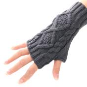 Eforstore Warm Fingerless Knitted Long Crochet Soft Gloves Mitten Wrist Arm Hand Ring Cuff Bracelet Support Gloves for Girls Women