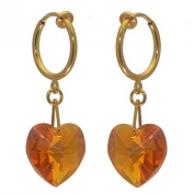 VALENTINE cerceau gold plated topaz yellow clip on earrings