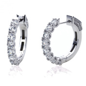 Platinum Plated Sterling Silver Round Cubic Zirconia Prong Setting Womens Hoop Earrings