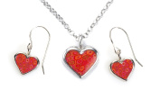 Heart Jewellery Set - Silver Charm Necklace and Earring Set