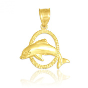 Solid 10k Yellow Gold Hoop Jumping Dolphin Pendant