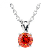 Platinum Plated .925 Sterling Silver 1 cttw Orange Round-Brilliant_Shape Cubic Zirconia Solitaire Necklace Made With. Zirconia, 46cm