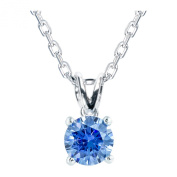 Platinum Plated .925 Sterling Silver 1 cttw Fancy Blue Round-Brilliant_Shape Cubic Zirconia Solitaire Necklace Made With. Zirconia, 46cm