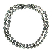 """8-10mm Black Baroque Tahitian Cultured High Lustre Pearl Endless Necklace, 36"""""""
