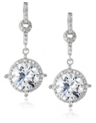 Charles Winston, S Silver, Cubic Zirconia 9mm Drop Earrings, 6.78 ct. tw.