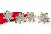Manor Luxe Shimmer Snowflake Holiday Metal Napkin Rings (Set of 4), Silver