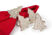 Manor Luxe Tannenbaum Christmas Tree Holiday Metal Napkin Rings (Set of 4), Silver