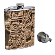 Olmec Perfection In Style 240ml Stainless Steel Whiskey Flask with Free Funnel D-004