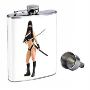 Ninja Perfection In Style 240ml Stainless Steel Whiskey Flask with Free Funnel D-001