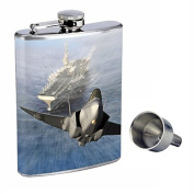 Navy Perfection In Style 240ml Stainless Steel Whiskey Flask with Free Funnel D-003