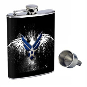 Navy Perfection In Style 240ml Stainless Steel Whiskey Flask with Free Funnel D-008
