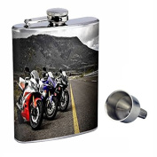 Perfection In Style 240ml Stainless Steel Whiskey Flask with Free Funnel Motorcycle Design-001