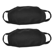 2pcs Black Unisex Cotton Blend Anti-Dust Protective Earloop Face Mouth Mask Cycling Sports Respirator